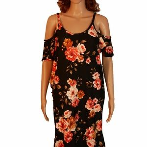 MotherBee Maternity, black flowered dress, RN 1334